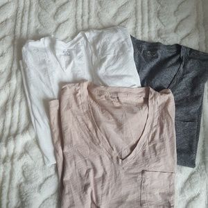 Lot of 3 Madewell whisper cotton v-neck pocket tee